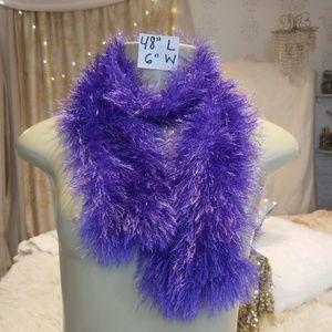 Handmade purple fuzzy scarf wrap